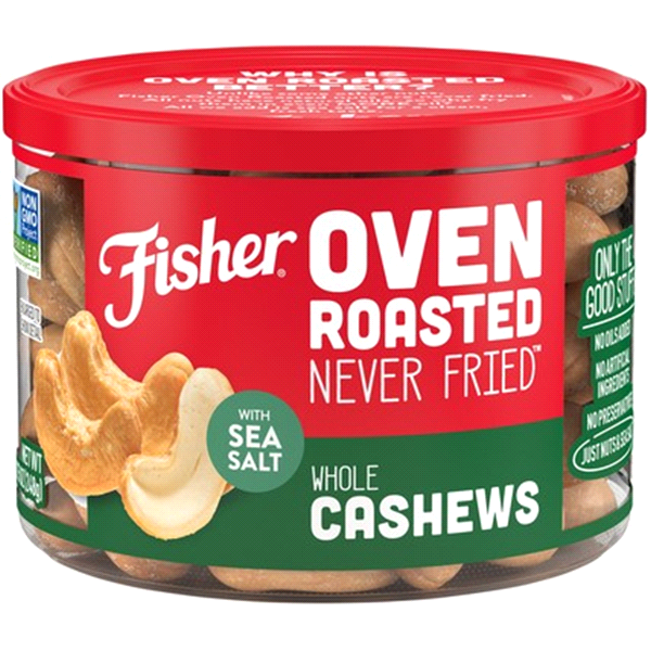 fisher oven roasted never fried whole cashews