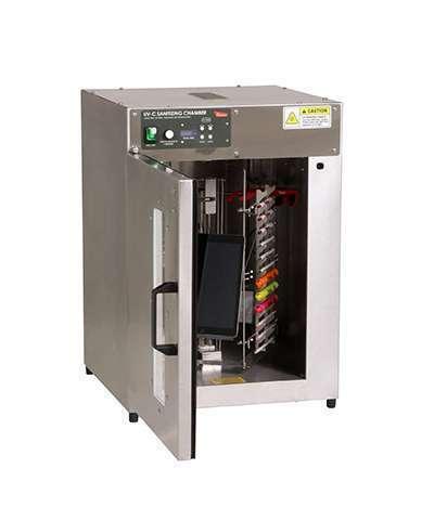 uv c sanitizing chamber with 360 rotating rack